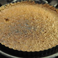 Underbaked yet charred pecan crust