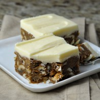 White Chocolate Cashew Blondies with White Chocolate Frosting