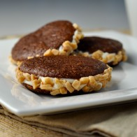 Mini Brownie Sandwich Cookies with Toffee Crunch