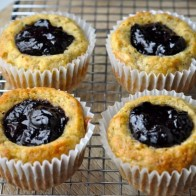 Blueberry Preserve-Stuffed Banana Muffins