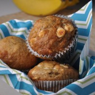 White Chocolate Cranberry Banana Muffins