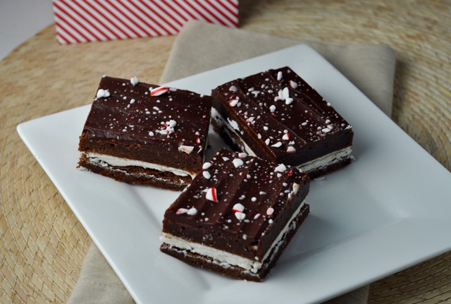 Peppermint Brownie Sandwich Bars | More Sweets Please